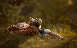 photo, nature, child, girl, toy, tiger