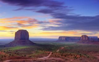 рассвет, пейзаж, горы, скалы, небо, природа