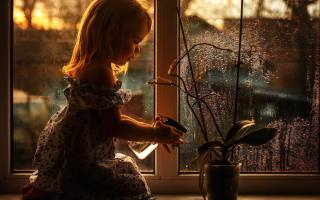 girl, window, flower, pot