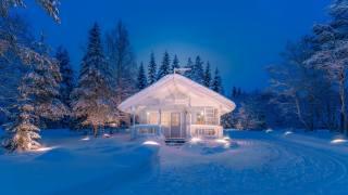 зима, домик, снег, лес, деревья, сугробы