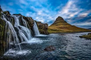 Iceland, rock, mountain, Киркьюфетль, kirkjufell, river, waterfall, nature, landscape, the sky, clouds