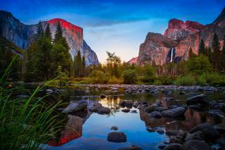 California, USA, Yosemite, nature, landscape, reserve, mountains, reflection, stones, the pond, trees, The BUSHES, grass