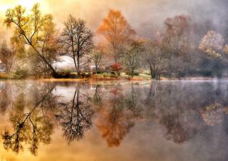 autumn, the sky, water, clouds, trees, landscape, nature, the lake