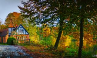 Germany, autumn, the house, Ahausen Lower Saxony, trees, nature