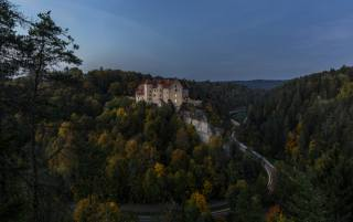 Germany, castle, forest, road, evening