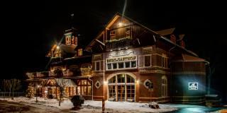 Germany, winter, the house, Gasthof Honigbrunnen Loebau, night, Design, Уличные фонари, The hotel, the city