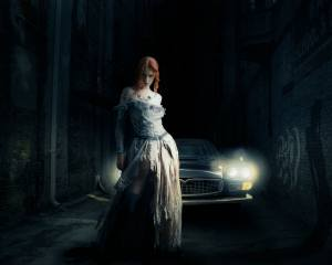 ретро, Авто, свет фар, ночь, fantasy girl