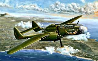 Northrop P-61 Black Widow, американский тяжелый ночной истребитель, the second world war, military aircraft, USAAF, P-61A