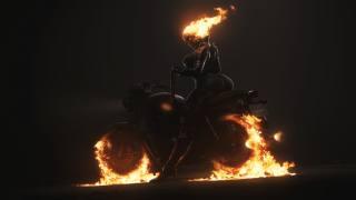 fantasy girl, Фэнтези, искусство, огонь, мотоцикл