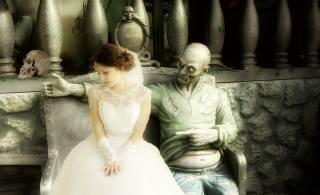 невеста, зомби, двое, сидит, череп