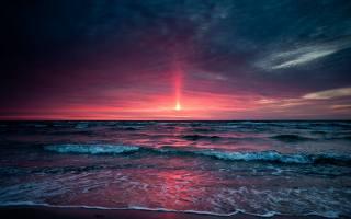 закат, море, прибой