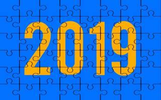 2019, background, 2019 год, сине-желтая, puzzle, creative, puzzle