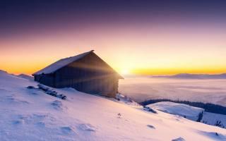 зима, горы, природа, домик