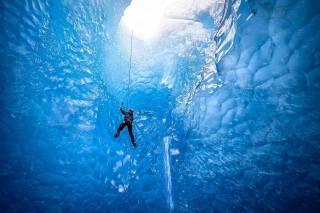 альпинист, Исландия, ледник, экстрим, лед