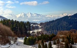 горы, Леса, зима, пейзаж, снег, природа