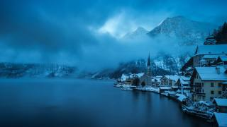 Hallstatt, Австрия, городок, природа, зима