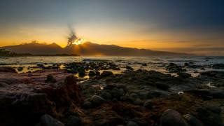 океан, волны, камни, берег, закат