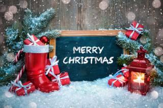 праздник, Новый год, Рождество, декорация, снег, доска, сапог, подарки, коробки, ветки, ель, елка, фонарь, боке