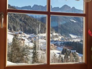 окно, горы, деревня, вид, зима