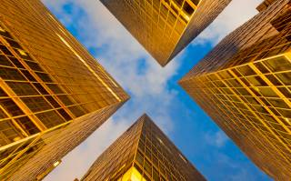 Čína, Hong kong, budovy, mrakodrapy, okna, sklo, zlato, nebe