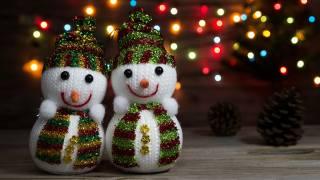 holiday, New year, snowmen, PAIR, cones, bokeh