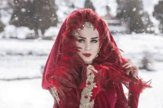 девушка, наряд, снег, зима, боке