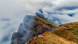 горы, обрыв, небо, облака, туман, осень, Seceda, Arthur Cross