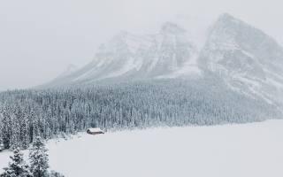 зима, снег, лес, гора, вершина, домик