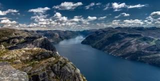 Норвегия, Норвегия, Lysefjord, Люсе-фьорд, Preikestolen, Прекестулен, фьорд, скалы, пейзаж, природа, небо, облака