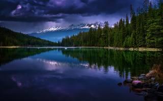 канада, природа, озеро, горы, красиво, Леса