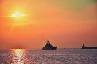 вечер, закат, черное море, корабль