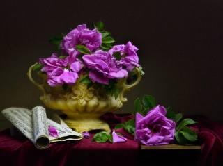 Валентина Колова, váza, květiny, růže, šípkový, větvičky, poznámky, tkanina