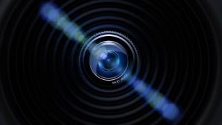 fotoaparát, objektiv, modrá, černá, tmavě, fotografie, oslnění
