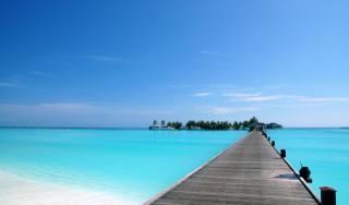 пірс, місток, острівець, океан, тропіки
