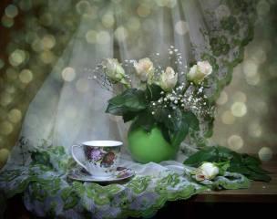 zátiší, váza, květiny, růže, sprchovým závěsem, výšivky, šálek, boke, zátiší
