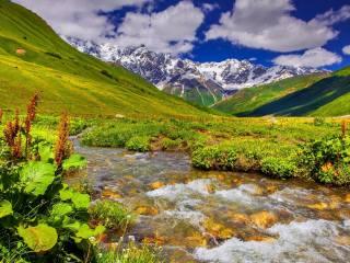 природа, горы, ручей, красиво