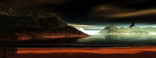 море, острова, горы, скалы, ночь