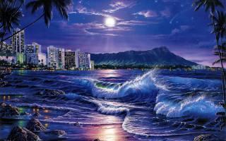 creative, art, picture, nature, landscape, night, night, tropics, tropical, Palma, palm trees, sea, sea, the ocean, океанский, surf, wave, wave, the moon, planet, Lunar, shore, coast, mountain, mountains, the city, resort