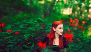 дівчина, природа