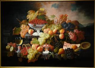 живопись, фрукты, виноград, Severin Roesen, листья, картина, листва, лист