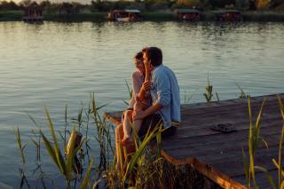 guy, girl, PAIR, lovers, hugs, date, romance, nature, river, mostok