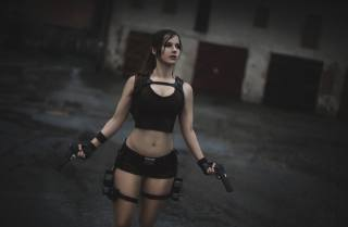 Model, cosplay, gun, Lara Croft