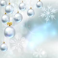 графика, цифровое искусство, праздник, Новый год, Рождество, Игрушки, Шары, снежинки, боке