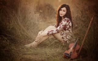 Азиатская девушка, view, violin, music