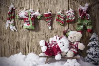 доски, декорация, праздник, Новый год, Рождество, снег, елочка, веревка, одежда, Игрушки, медвежата