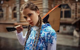 Симпатичная молодая девушка, braids, music