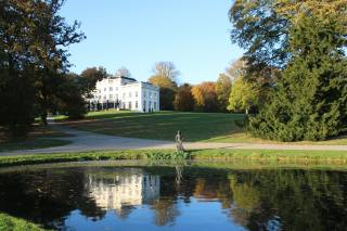 park, rybník, odraz, palác