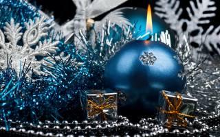 свечи, шарики, бусы, Новый год