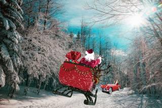 лес, дорога, сани, Олени, дед мороз, подарки, Авто, встреча