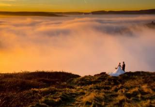 гори, небо, туман, красиво, ПАРА, весілля